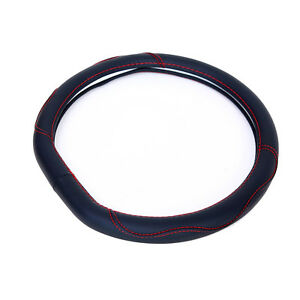 Synthetic Leather Steering Wheel Cover Black W Red Stitching Sport Grip 14 15