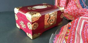 Old Chinese Redwood Inlaid Jewelry Box With Lots Of Brass Beautiful Display A