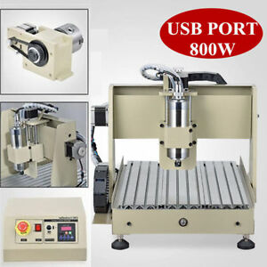 3040 4 Axis Desktop Cnc Router Kit Wood Pcb Milling Carving Engraving Machine