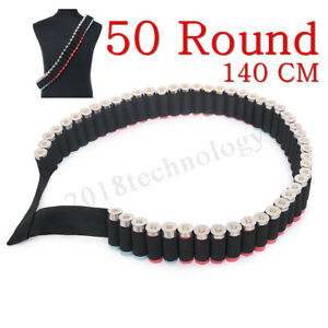 50 Round Shots Shell Bandolier Belt 1220GA Hunting Tactical Ammo Holder Pouch