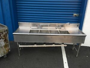 Stainless Steel 3 Compartment Under Bar Sink Left Right Drainboard 72in