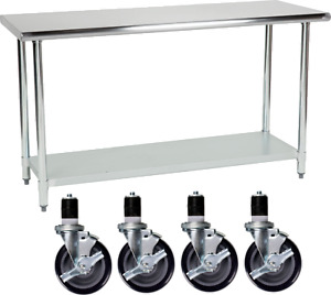 New Stainless Steel Work Prep Table 24 X 60 With 5 Caster Wheels