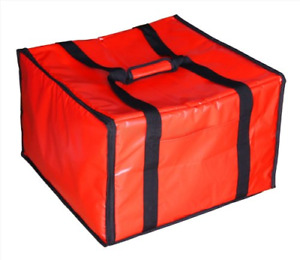 Insulated Pizza Delivery Box Bag Warmer Red Food Carrying Straps Fits 6 Boxes
