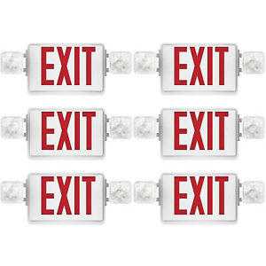 Sunco 6 Pack Emergency Exit Sign Single double Face Led W 2 Head Lights Ul