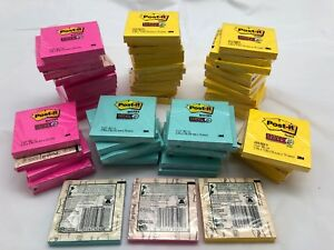 5 400 Post it Super Sticky Notes 3 X 3 Square 60 Pads 90 Sheets Blue Pink Yellow