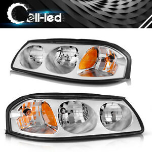For 2000 2005 Chevy Impala Pair Chrome Housing Amber Turn Signal Headlight Lamp