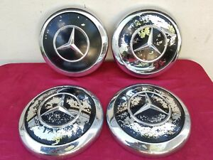 Set Of 4 Vintage Mercedes Benz Pagoda Distressed Hubcap Wheel Covers 1960 1979