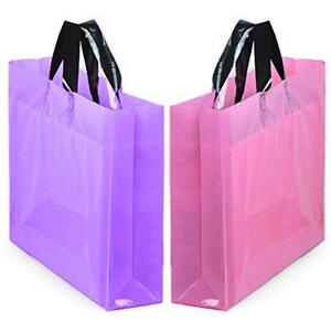 Yookeehome 14 X 18 Large Merchandise Bags With Handles Bottom Gusset Pink
