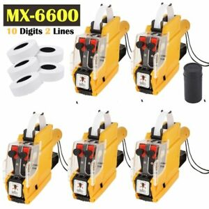 5x Price Tag Gun Pro Mx 6600 10 Digits Eos W 5 Rolls Lines Labels 1 Ink Ma