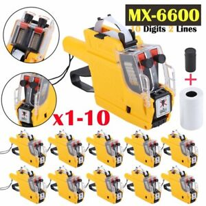 Pro Mx 6600 Eos 10 Digits 2 Lines Price Tag Gun With Sticker Labels Ink Lot Ma