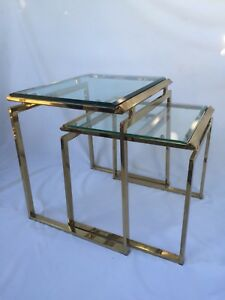 1970s Vintage Milo Baughman Brass And Beveled Glass Nesting Tables A Pair