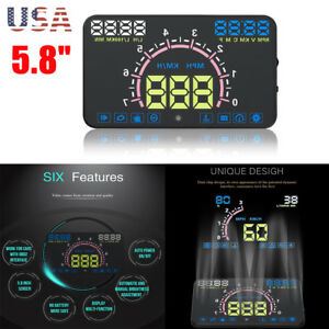 Car Hud Head Up Display Obd Ii Obd2 Auto Gauge 5 8 Dash Screen Speeding Warning