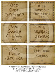 Primitive Pantry Labels 12958 Olde Thyme Christmas Country Primitive Farmhouse