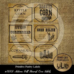 Primitive Pantry Labels 18101 Autumn Fall Harvest Corn Kettle Roasted Relish