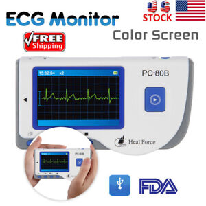 Lcd Heal Force Handheld Color Ecg Ekg Heart Monitor W Lead Cable