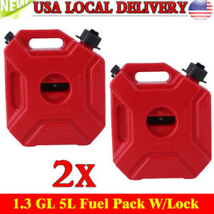 2x Gas Storage 1 3 Gallon Containers Fuel Pack Can W Mounting Kits Atv Utv Mx