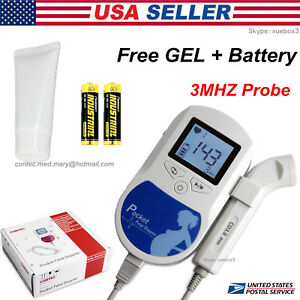 Baby Heart Rate Doppler Fetal Monitor Prenatal Fhr 3m Probe Lcd Gel battery fda