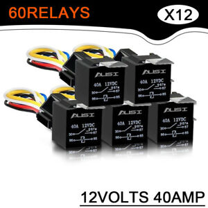 60 Pack Car Auto Dc 12 Volt 30 40a Automotive 5 Pin 5 Wire Relay