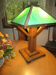 Antique Mission Oak Table Lamp Oak And Green Slag Glass Acorn Pulls 23 High Sha