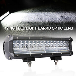 12inch 500w Led Light Bar Spot Flood 6000k Driving Utv Suv Quad Row Side Shooter