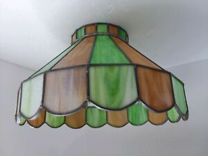 Vintage Stained Slag Glass Green Caramel Ceiling Chandelier Swag Light Shade