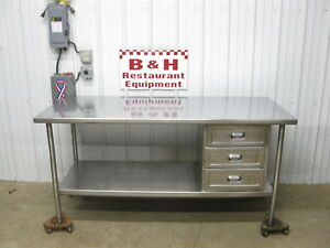 72 Stainless Steel Heavy Duty Kitchen Prep Work Table W Three Drawers 6