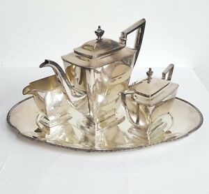 Antique Pairpoint Sheffield Silver Plated 4 Piece Tea Coffee Serving Tray Set