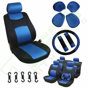 13 Pieces Full Set Car Auto Seat Covers Black Blue Easy To Install For Scion