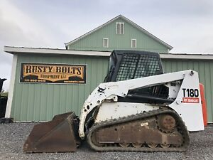 05 Bobcat T180 Multi Terrain Track Skid Steer Loader Cab Heat Ac Low Cost Ship