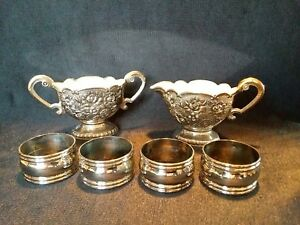 Vintage Sugar N Creamer Silver Silver Plate Items Lot Napkin Rings 6 Pc Formal