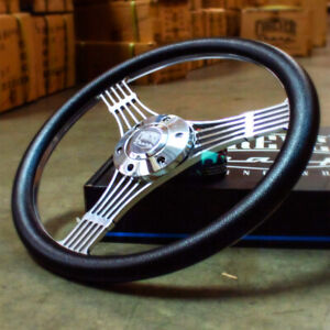 14 Inch 6 hole Polished Banjo Steering Wheel Black Grip