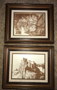 Vintage Lot Original Wood Etchings Victorian Village W Wood Picture Frames