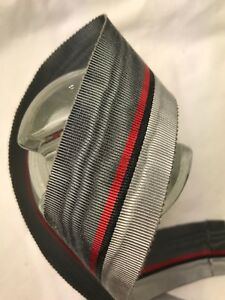 Bty 1 Yard 1 1 2 Grey Red Moire Vintage Striped Rayon Petersham Ribbon Hat