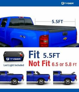 5 5ft Pickup Truck Tri fold Tonneau Cover With Light For Ford F 150 2004 2014
