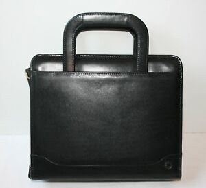 Franklin Covey Classic Leather Binder Black Handles 2 Rings Zippered Planner