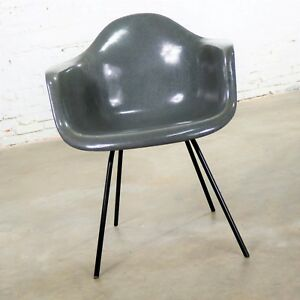Elephant Hide Gray Eames Herman Miller Molded Fiberglass Dax Arm Shell Chair H B