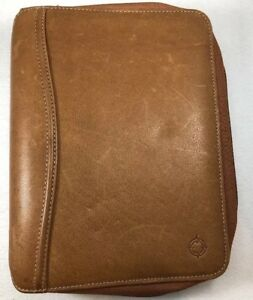 Franklin Covey Full Grain Leather Tan Classic Zippered Binder 7 Rings