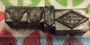 Lot Of 4 Vtg Automobile Printers Blocks diamond T buick ford Packard