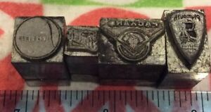 Lot Of 4 Vtg Automobile Printers Blocks plymouth packard buick Studebaker