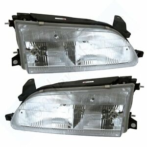 Pair Set Of Composite Headlights Headlamp For Car 1993 1997 Toyota Corolla