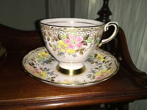 Tuscan Gold Design Pink Yellow Blue Flowers Cup Saucer England