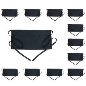 Server Aprons With 3 Pockets 12 Pack Boharers Black Waist Waitress Waiter H