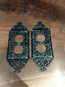 2 Vintage Outlet Plate Cover Black Gloss Hammered Aluminium