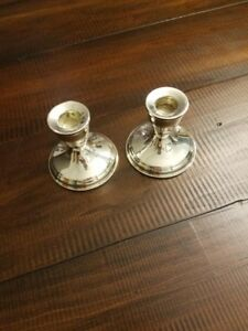 Duchin Sterling Silver Vintage Weighted Candlestick Holders Set Of 2 From 1940 S