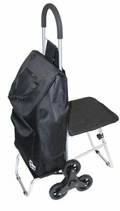 Stair Climber Trolley Dolly With Seat Black Shopping Grocery Foldable Cart Ta
