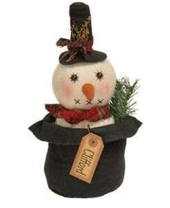 Clearance Sale Large Primitive Snowman Christmas Snowman Shelf Sitter