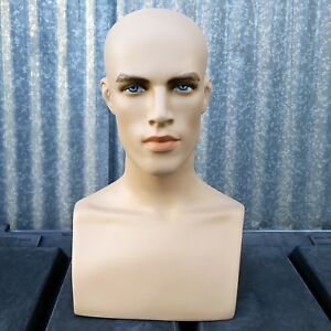 Mn 413 2 Pieces Male Fleshtone Mannequin Head Form Display With Bust 2 Heads