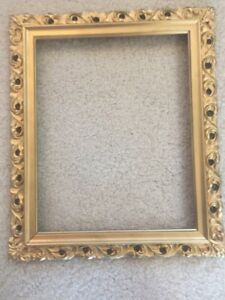 Vintage Carved Solid Wood Gold Tone Frame 11 X 13 Holds 8 X 10