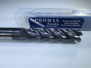 Promax Carbide 1 2 End Mill Roughing Finish Long 4 Length Milling Rougher Tool