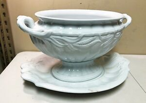 Antique Large White Ironstone Wheat Elsmore Forster Ceres Tureen Underplate